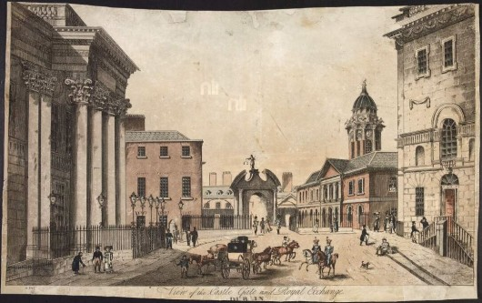 View of the Castle Gate and Royal Exchange, 1810-1850, Henry Brocas (National Library of Ireland)